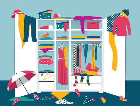 Open wardrobe. White closet with untidy clothes, shirts, sweaters, boxes and shoes. Home interior mess. Flat design vector illustration. Иллюстрация