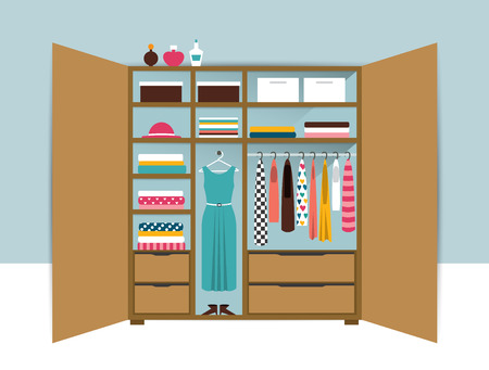 closet: Open wardrobe. Wooden closet with tidy clothes, shirts, sweaters, boxes and shoes. Home interior. Flat design vector illustration.