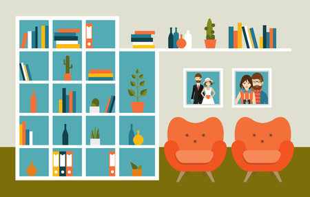 living room wall: Living room wall with orange armchairs and book shelves. Flat design vector illustration. Illustration