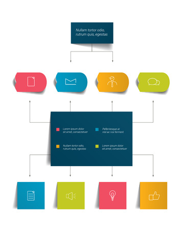 Infographics flow chart. Colored shadows scheme.