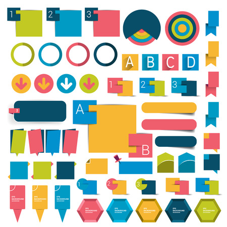 schemes: Mega infographics set flat design elements, schemes, charts, buttons, speech bubbles, stickers. Vector illustration.