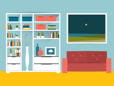 wood room: Living room interior. Flat design vector illustration. Illustration