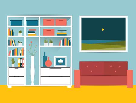 living rooms: Living room interior. Flat design vector illustration. Illustration