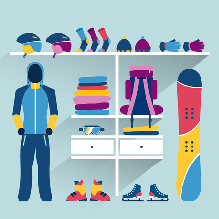outlet store: Ski Sports store. Winter Activities indoor boutique. Flat design vector illustration.