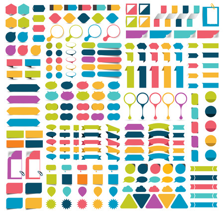 sticker vector: Mega infographics set flat design elements, schemes, charts, buttons, speech bubbles, stickers. Vector illustration.