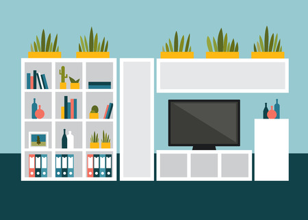living room tv: Living room with TV and book shelves. Flat design vector illustration.