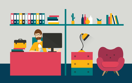 home office interior: Retro style home office. Man work day in home interior. Flat design vector illustration. Illustration