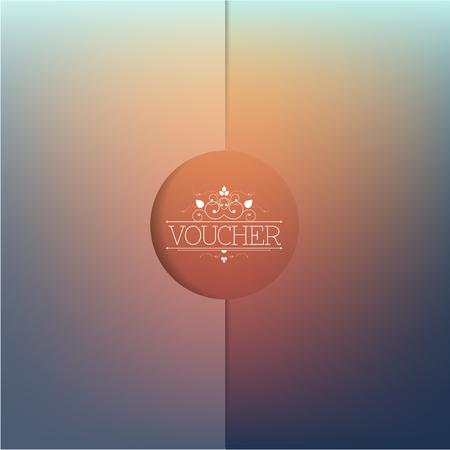 formal: Elegant voucher template. Blur minimalistic design with ornamental type.