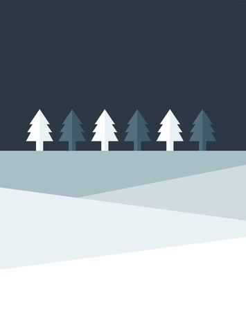 christmas graphic: Christmas night tree land. Simply flat design.