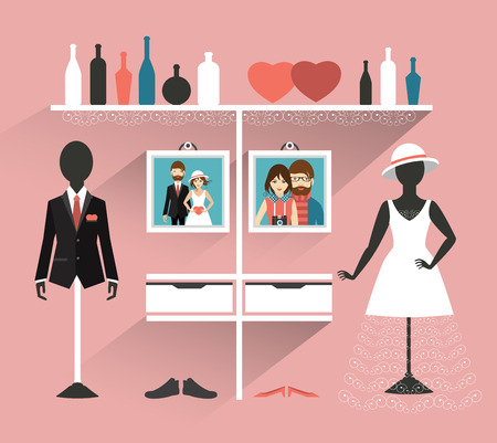 clothing store: Wedding Clothing store. Boutique indoor. Flat design vector illustration.