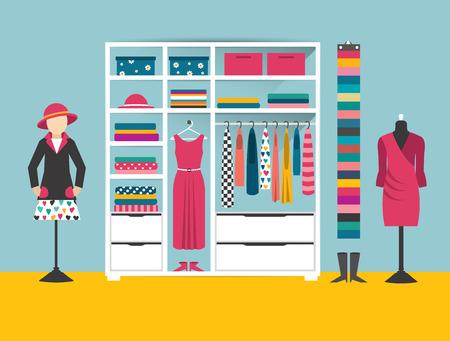 Clothing store. Boutique indoor. Flat design vector illustration. Flat design vector illustration.