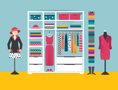 옥내의: Clothing store. Boutique indoor. Flat design vector illustration. Flat design vector illustration.
