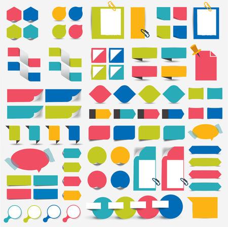 Mega infographics set flat design elements, schemes, charts, buttons, speech bubbles, stickers. Vector illustration.