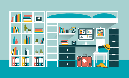 letto a castello: Office workplace with computer and book shelves under bunk bed. Flat design vector illustration. Vettoriali