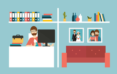 work from home: Home office. Man work day in home interior. Flat design vector illustration.