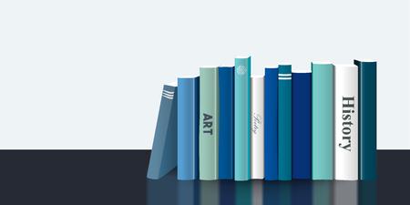 Book shelf. Realistic 3D Vector illustration. Blue design. Bookstore indoor. Illustration