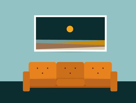 living room design: Living room interior. Retro style sofa and carpet. Flat design vector illustration.