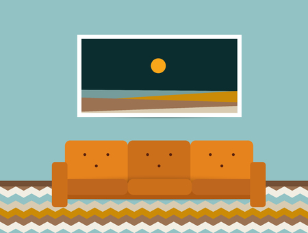 carpet: Living room interior. Retro style sofa and carpet. Flat design vector illustration.