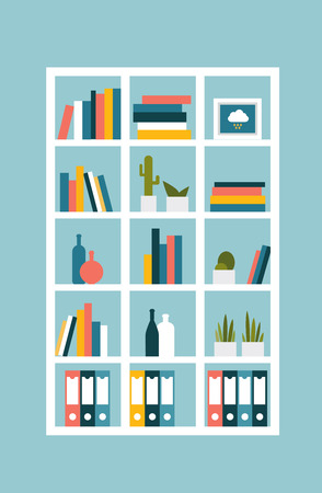 book case: Book shelf, case. Flat design vector illustration.