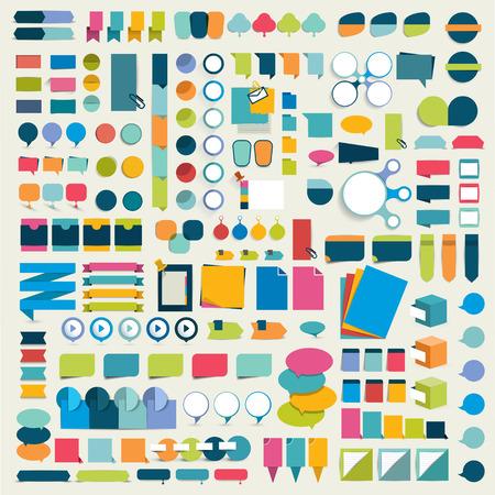フラット インフォ グラフィックのメガ コレクション デザイン要素、ボタン、ステッカー、メモ用紙、ポインター。ベクトルの図。  イラスト・ベクター素材