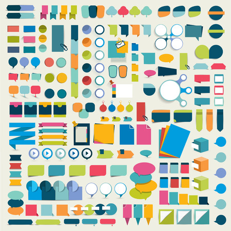 web: Mega collections of flat infographics design elements, buttons, stickers, note papers, pointers. Vector illustration.