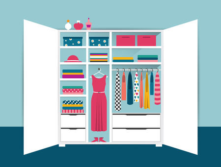 woman closet: Open wardrobe. White tidy closet with clothes, shirts, sweaters, boxes and shoes. Home interior. Flat design vector illustration.