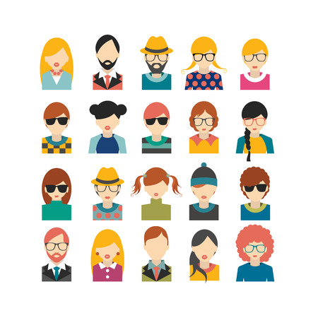 young people: Big set of avatars profile pictures flat icons. Vector illustration.