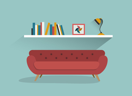 shelf: Retro red sofa and book shelf with lamps. Flat design vector illustration. Illustration