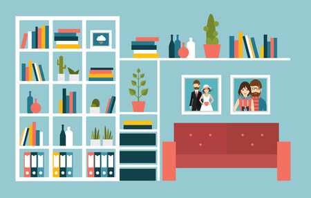 living room wall: Living room wall with red sofa and book shelves. Flat design vector illustration.