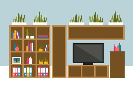 living room design: Living room with TV and book shelves. Flat design vector illustration.