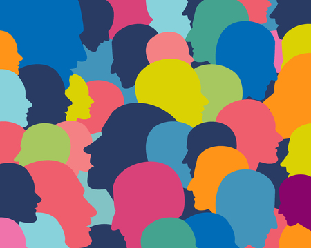 medical abstract: People profile heads. Vector background pattern.