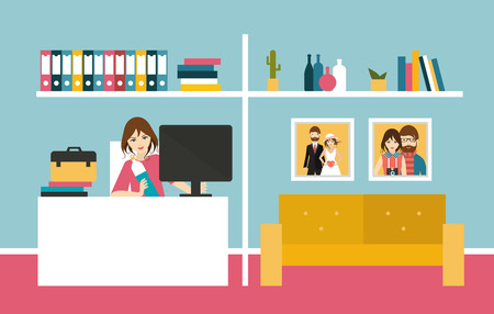 interior design home: Home office. Woman work day in home interior. Flat design vector illustration.
