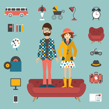 looks: Hipster couple needs style concept. Vector illustration.