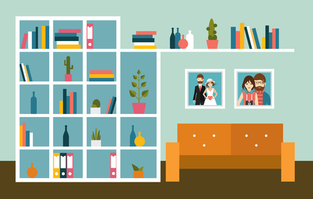 living room wall: Living room wall with orange sofa and book shelves. Flat design vector illustration.