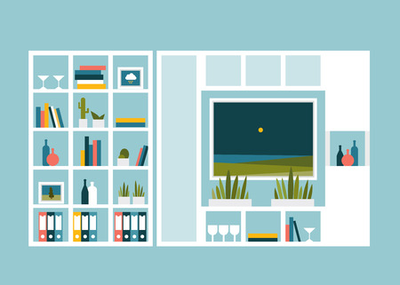 storage: Living room with photo pictures and book shelves. Flat design vector illustration. Illustration