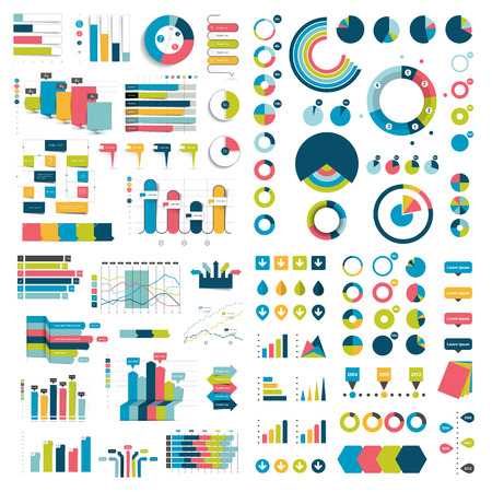 pie diagrams: Mega Collection of charts, graphs, flowcharts, diagrams and infographics elements. Infographics in blue color.