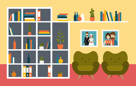 armchairs: Living room wall with orange armchairs and book shelves. Flat design vector illustration. Illustration