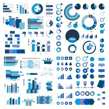 차트, 그래프, 플로우 차트, 다이어그램 및 infographics입니다 요소의 메가 컬렉션. 푸른 색에 infographics입니다.