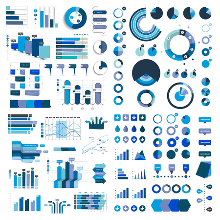 bar graph: Mega Collection of charts, graphs, flowcharts, diagrams and infographics elements. Infographics in blue color.