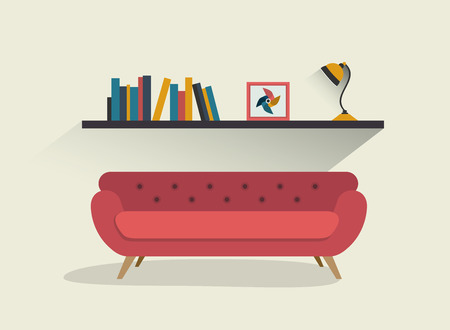 living room design: Retro red sofa and book shelf with lamps. Flat design vector illustration. Illustration