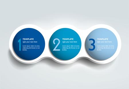 3 つのステップの要素はバブル チャート、スキーム、ダイアグラム テンプレートです。インフォ グラフィック テンプレート。  イラスト・ベクター素材