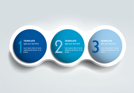 flujo: Tres elementos de los pasos de gráfico de burbujas, esquema, plantilla de diagrama. plantilla de infografía.