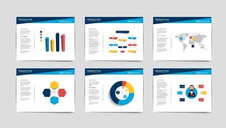 6 비즈니스 프리젠 테이션 템플릿. 전단지, 포스터, 슬라이드, 잡지, 책, 브로셔, 웹 사이트, 인쇄 인포 그래픽.