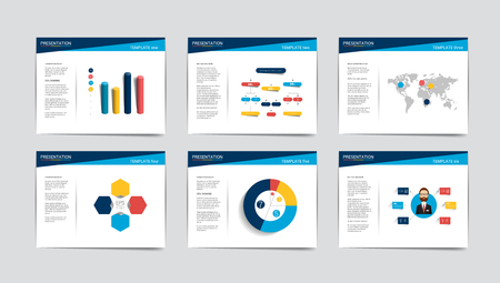 leaflet design: 6 business presentation templates. Infographics for leaflet, poster, slide, magazine, book, brochure, website, print.