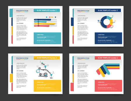 4 plantillas de presentación de negocios. Infografía para folleto, cartel, tobogán, revista, libro, folleto, página web, imprimir. Foto de archivo - 48118007