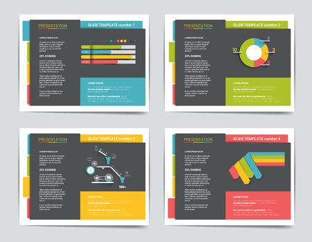 powerpoint: 4 business presentation templates. Infographics for leaflet, poster, slide, magazine, book, brochure, website, print.