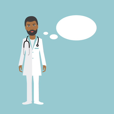 mediation: Black Medicine doctor speaking. Flat illustration.