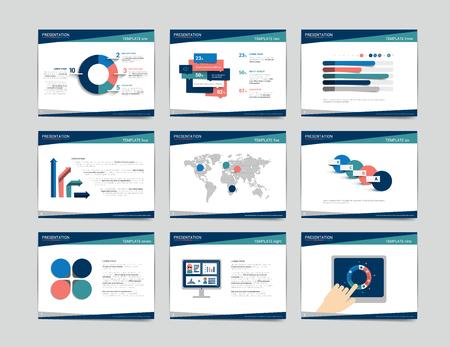 9 business presentation templates. Infographics for leaflet, poster, slide, magazine, book, brochure, website, print. Illustration