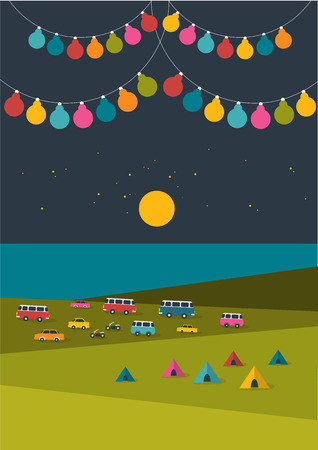 retro party: Summer night festival, party music poster background with color flags and retro cars, vans, buses and tent field. Flat design.