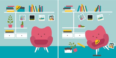 きちんと und 乱雑な部屋。肘掛け椅子および本の棚とリビング ルーム。フラットなデザインのベクトル図です。